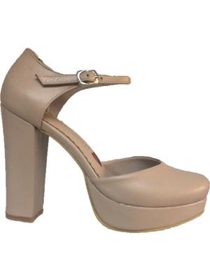 Elegan Bej Deri Bilekten Bağlı Platform Ayakkabı