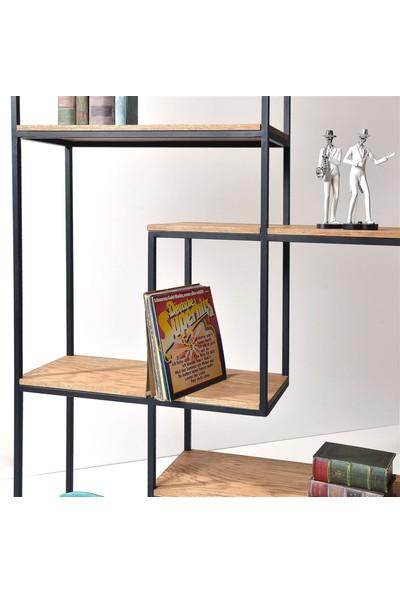 Dekmanya Metal Ayaklı Ahşap Ventura Kitaplık