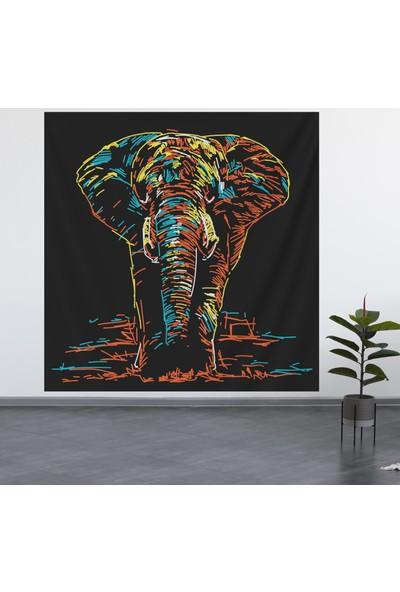 Alamode Renkli Fil Model Duvar Örtüsü