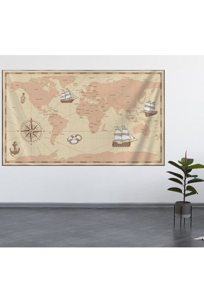 Alamode Dünya Haritası Duvar Örtüsü