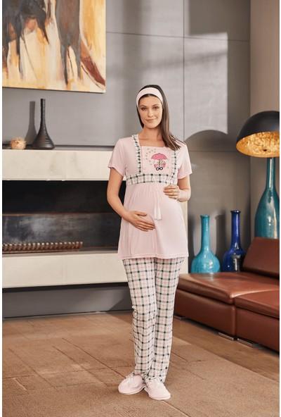 By Mecit 5222 Pembe Ekoseli Lohusa Pijama Takımı