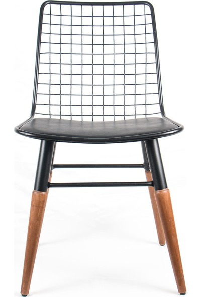 İndirimse Home Ahşap Ayaklı Metal Sandalye 4'lü