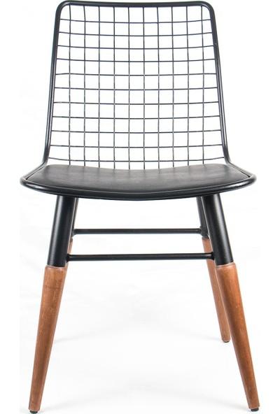 İndirimse Home Ahşap Ayaklı Metal Sandalye 6'lı
