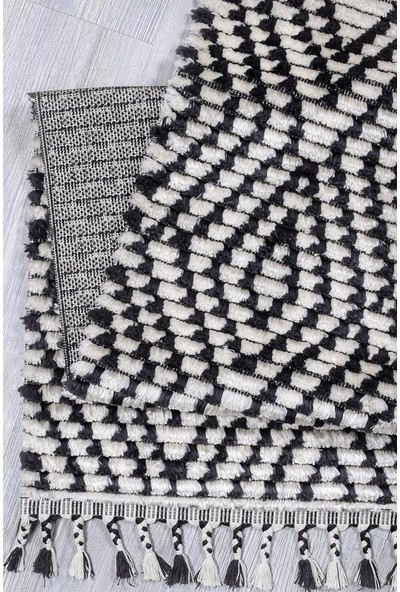 Kuga Butik Siyah Beyaz Dokuma Post Halı 2764