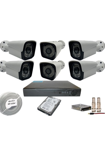 Promise 6 Kameralı Set 5 Mp Ahd Sistem 1440P Gece Görüşlü Kamera Sistemi Harddisk Dahil