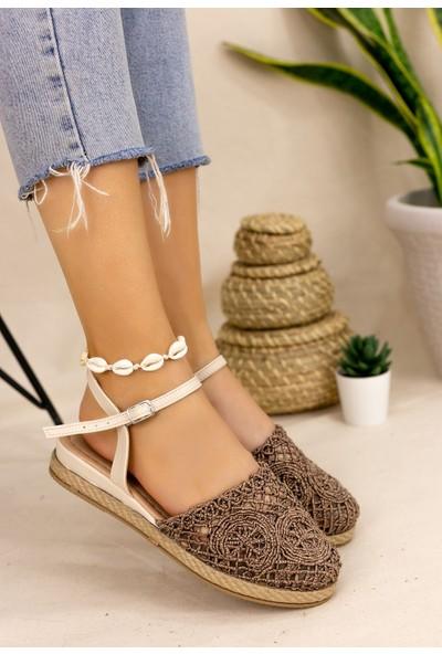 Pabucmarketi Confort Kadın Bronz Örgülü Sandalet