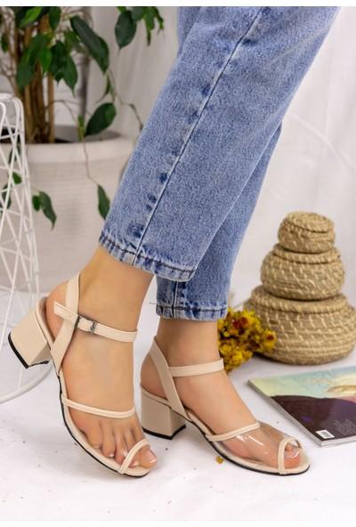 Pabucmarketi Kadın Comfort Krem Cilt Topuklu Ayakkabı
