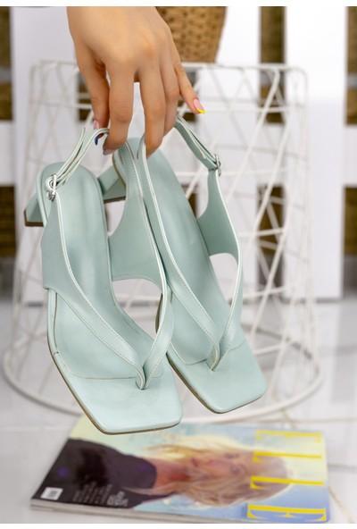 Pabucmarketi Kadın Su Yeşili Cilt Sandalet