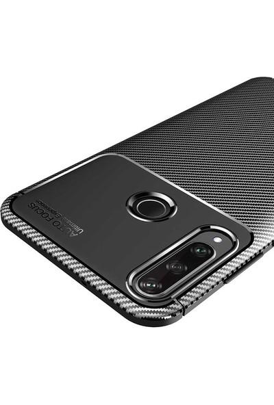 Tekno Grup Huawei Y6P Kılıf Karbon Desenli Lux Negro Silikon Siyah + Tam Kaplayan 6D Nano Ekran Koruyucu