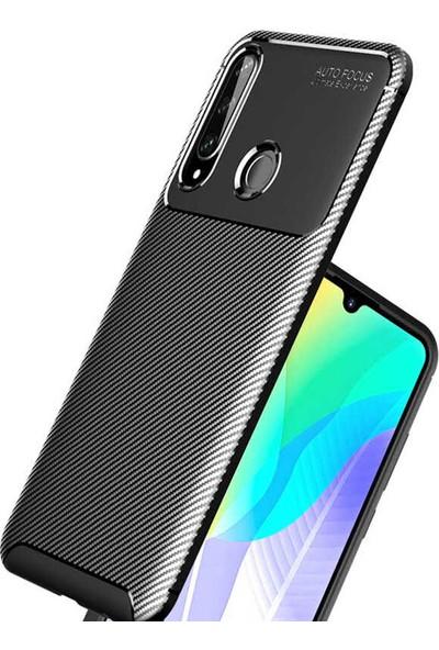 Tekno Grup Huawei Y6P Kılıf Karbon Desenli Lux Negro Silikon Siyah
