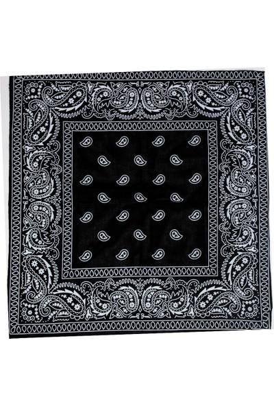 Modaroma Şal Desenli Siyah Bandana
