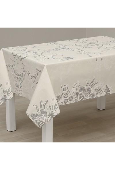 Eno Concept Gümüş Dantel Desenli Pamuk Kolay Temizlenebilir Leke Tutmaz Masa Örtüsü 140 x 200 cm