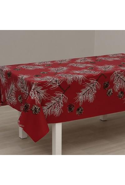 Eno Concept Kırmızı Kozalak Desenli Pamuk Kolay Temizlenebilir Leke Tutmaz Masa Örtüsü 140 x 140 cm