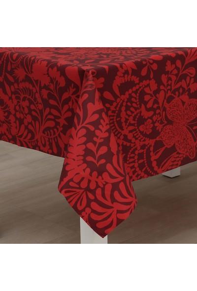 Eno Concept Kırmızı Yoğun Desenli Pamuk Kolay Temizlenebilir Leke Tutmaz Masa Örtüsü 140 x 160 cm