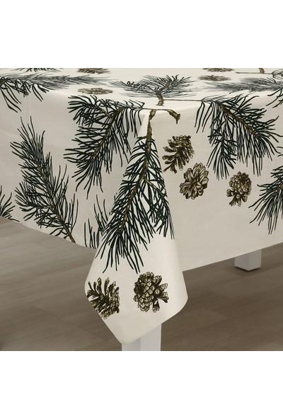 Eno Concept Çam Kozalak Desenli Pamuk Kolay Temizlenebilir Leke Tutmaz Masa Örtüsü 140 x 200 cm