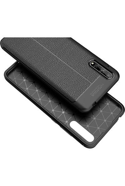 KNY Huawei P Smart S Kılıf Deri Desenli Lux Niss Silikon + Cam Ekran Koruyucu Siyah