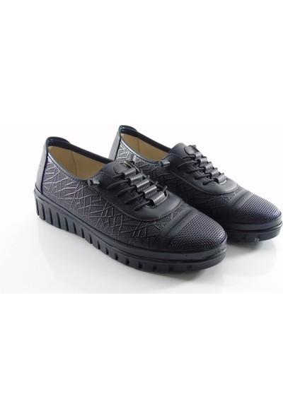 Norfix Deri İç Astarlı Lastikli Kadın Ayakkabı Siyah - 746