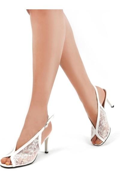 Gökhan Talay Beyaz Dantel Kadın Klasik Topuklu Ayakkabı