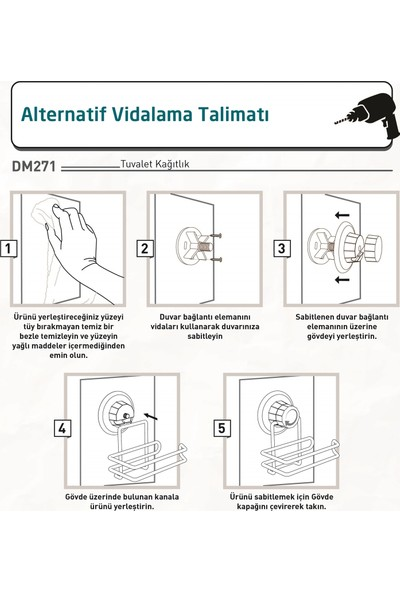 Teknotel Vakumlu Tuvalet Kağıtlık Bakır DM271
