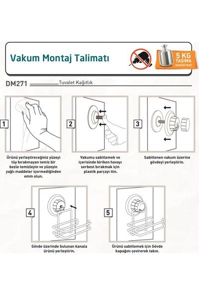 Teknotel Vakumlu Tuvalet Kağıtlık Mat Siyah DM271