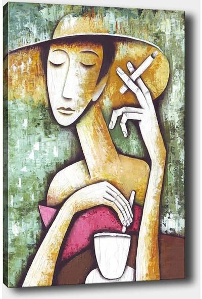 Shop365 Kahve İçen Kadın Kanvas Tablo 45 x 30 cm SB-98717