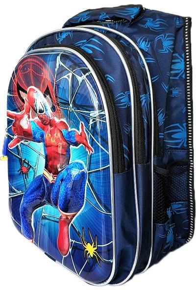 Entegre Çanta İlkokul Çantası 5d Parlak Beslenme Çantalı Spider Lacivert