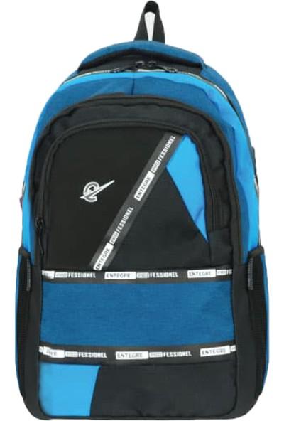 Entegre Okul Çantası USB Kablo Girişli Model 736 Mavi