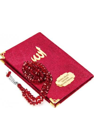 20 Adet Özel Hediyelik Kutulu 99'lu Kristal Görünümlü Parlak Tesbihli Özel Isimli Çanta Boy Kadife Yasin Kitabı Kırmızı 1132