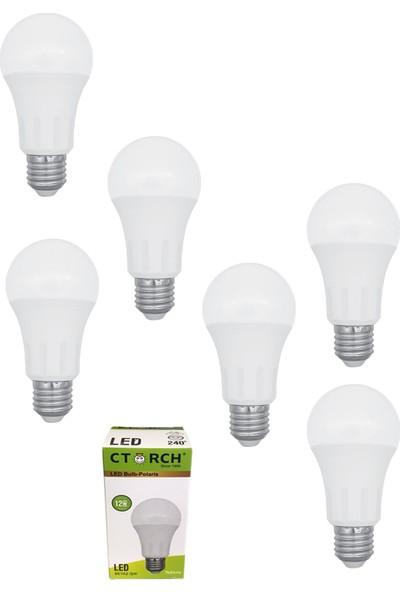 Ctorch Led Ampul 12W Beyaz Işık E27 6500K 6'Lı Set