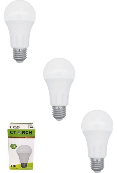 Ctorch Led Ampul 12W Beyaz Işık E27 6500K 3'Lü Set