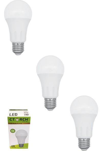 Ctorch Led Ampul 12W Sarı Işık E27 3000K 3'Lü Set