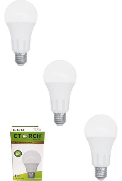 Ctorch Led Ampul 8W Beyaz Işık E27 6500K 3'Lü Set