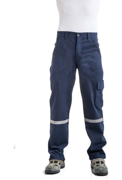 Çamdalı İş Elbiseleri 7/7 Gabardin Kışlık Lacivert İşçi Pantolonu Kalın Reflektörlü İş Pantolonu XXL