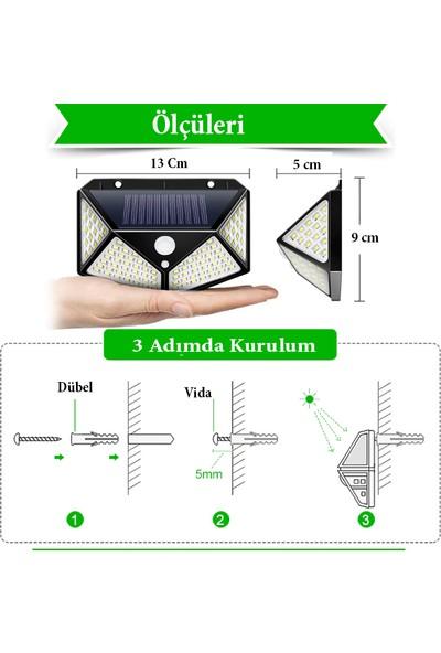 Mighty Solar Bahçe Lambası 100 Ledli Sensörlü Solar Lamba Güneş Enerjili Bahçe Aydınlatma 4Lü Paket