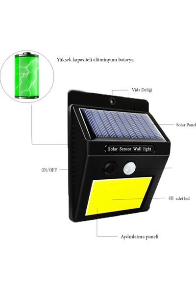 Mighty Solar Bahçe Lambası 48 Ledli Sensörlü Solar Lamba Güneş Enerjili Bahçe Aydınlatma 4 Lü Paket