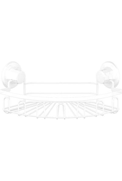 Tekno-tel Delme Vida Matkap Yok! Vakumlu Tek Katlı Askılı Banyo Köşe Rafı Beyaz Dm255