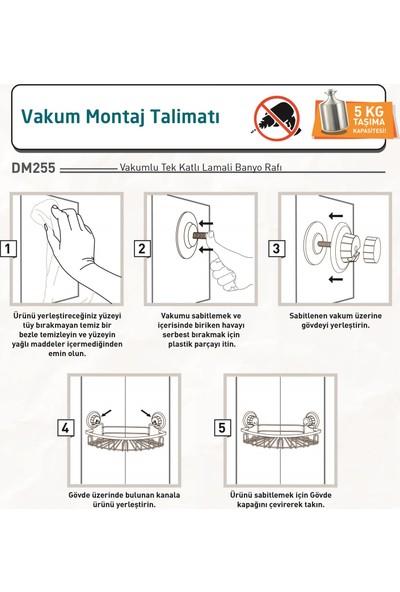 Tekno-tel Delme Vida Matkap Yok! Vakumlu Tek Katlı Askılı Banyo Köşe Rafı Mat Siyah Dm255