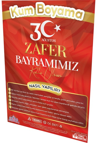 Kumbo Kum Boyama Atatürk - 30 Ağustos Zafer Bayramı Özel Kum Boyama Aktivite Seti