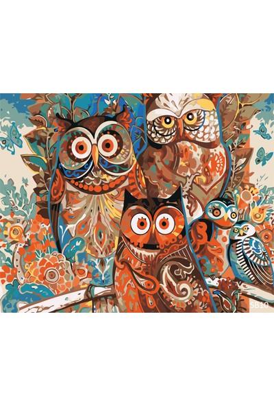 Plus Hobby SB10 Baykuş Ailesi Sayılarla Boyama Seti 40 x 50 cm