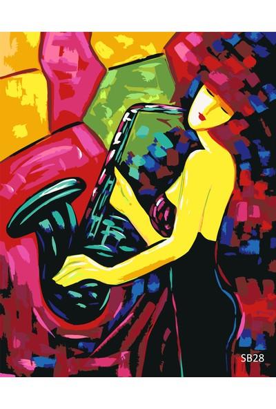 Plus Hobby SB28 Müzisyen Kız Sayılarla Boyama Seti 40 x 50 cm