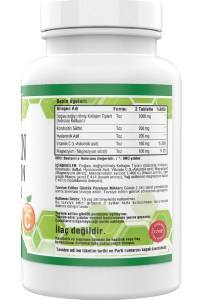 Golden Arizona Collagen Chondroitin 3 Kutu 540 Tablet Kolajen Tip 1-2-3 Magnezyum Sitrat Vitamin C Hyaluronic Acid