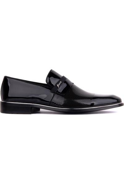 Fosco Bağcıksız Siyah Rugan Erkek Klasik Ayakkabı 9063 430