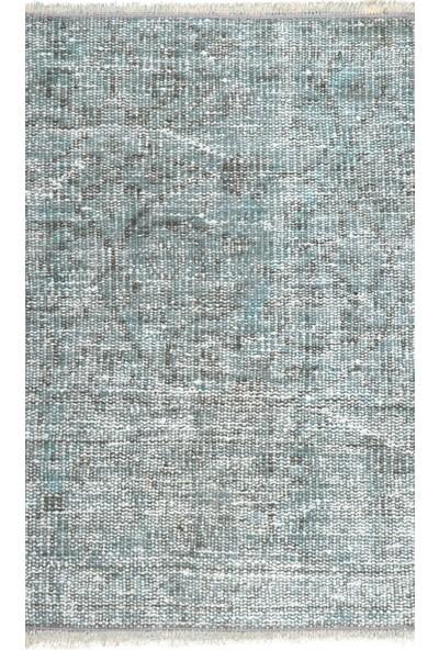 Grand Hedef Halı Açık Mavi Renk El Dokuma Vintage Paspas 45 x 70 cm