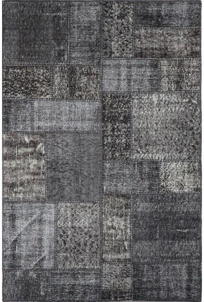 Grand Hedef Halı Antrasit Gri Renk Patchwork El Dokuma Halısı 120 x 180 cm
