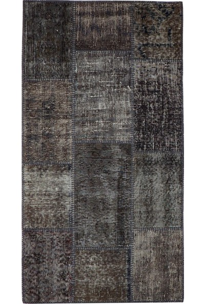 Grand Hedef Halı Gri Renk Patchwork El Dokuma Halısı 80 x 150 cm