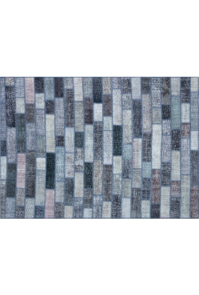 Grand Hedef Halı Gri Tonları Patchwork El Dokuma Halı 160 x 230 cm
