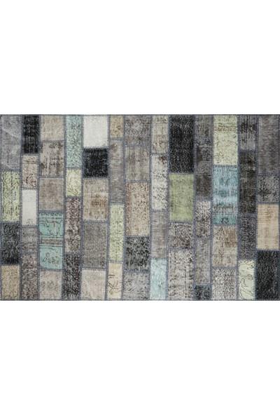 Grand Hedef Halı Gri Tonları Renk Patchwork El Dokuma Halısı 120 x 180 cm