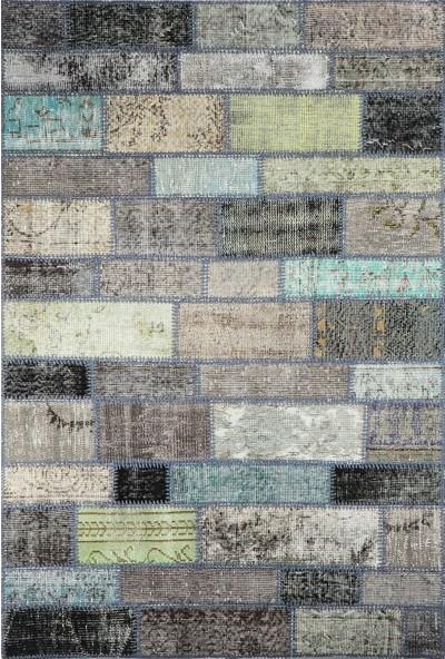 Grand Hedef Halı Gri Tonları Renk Patchwork El Dokuma HALISI-120 x 180 cm