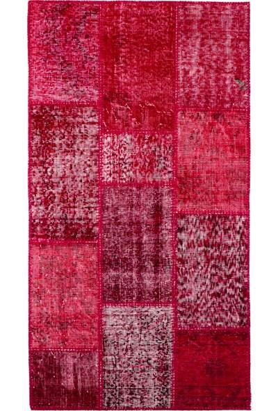 Grand Hedef Halı Kırmızı Renk Patchwork El Dokuma Halısı 80 x 150 cm