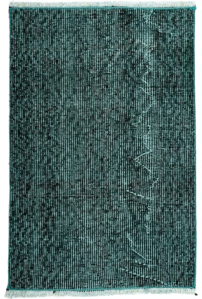 Grand Hedef Halı Koyu Turkuaz Renk El Dokuma Vintage Paspas 45 x 70 cm